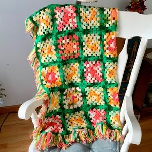 Hand-Crocheted Throw with Fringe